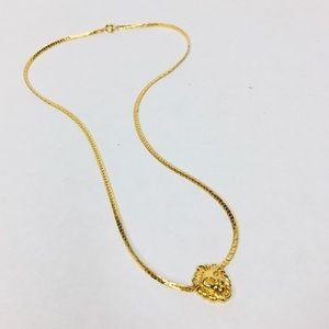Vintage 80's 90's gold lion head knocker necklace